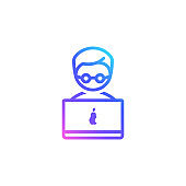 Boy with a laptop vector icon. Man with a laptop computer isolated on white background. Trendy vibrant color gradient