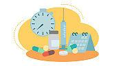 flat design illustration of vaccine bottle with syringe,pills,timer clock and calendar