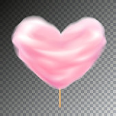 Colorful heart shape cotton candy on stick vector with transparency.