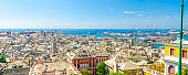 Top aerial scenic panoramic view of old historical centre Genoa