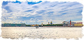Watercolor drawing of Panorama of Saint Petersburg with Winter Palace, State Hermitage Museum, Palace Bridge across Neva river, Saint Isaac's Cathedral, Strelka Arrow of Vasilyevsky Island, Russia