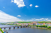 Aerial panoramic view of Prague city, historical center with Smichov district