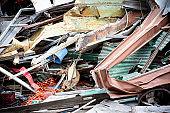 Closeup Of Demolition Debris Pile, Mainly Metals