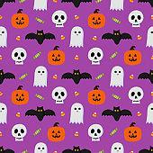 happy halloween seamless pattern on purple background. vector illustration.
