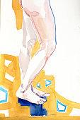 human's figure, watercolor painting, illustration