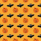 seamless pattern happy halloween on orange background. vector illustration.