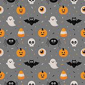 happy halloween seamless pattern on gray background. vector illustration.
