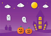 halloween party with ghosts and pumpkin paper art style on purple background. vector illustration.