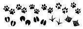 Dog ,cat paw print vector icon