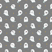 happy halloween cute ghost scary with different faces seamless pattern isolated on gray background. vector illustration.