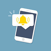 Smartphone with notifications icon. Flat style