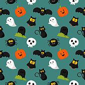 happy halloween seamless pattern on green background. vector illustration.