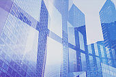 high tech business background with double exposure, innovation