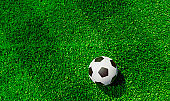 Soccer ball on soccer field seen from directly above