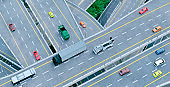 High angle view of busy roads full of cars and trucks during rush hour