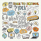 Digital Education Clipart. Vector Illustration.