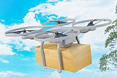 Delivery Drone with the Cardboard Box