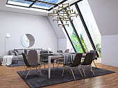 Loft Room with Dining Table and Windows