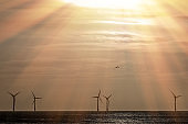 Ray of hope. Climate change and global warming wind farm landscape