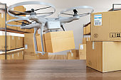Drone Carry Express Packages in Warehouse with Cardboard Boxes