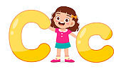 happy cute little kid study alphabet character