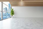 Empty Modern White Wall Unfurnished Interior
