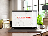 Online Education E-Learning Concept with Laptop and Books