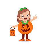 happy cute little kid boy and girl celebrate halloween wears pumpkin monster costume