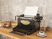 Old Typewriter with Blank Paper and Coffee. Vintage Writer's Equipment