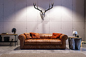 Loft Interior with Leather Sofa and Skull
