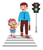 happy cute little kid girl cross the road with father
