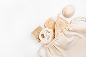 Zero waste concept flatlay with loofahs sponges
