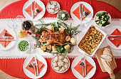 Directly above shot of Christmas meal on table.