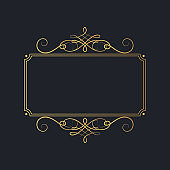 Vector isolated luxury wedding invitation card template. Hand drawn golden royal rectangular swirl border in vintage style. Certificate frame with gold filigree decor elements.