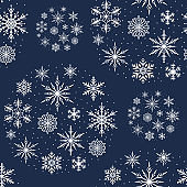 Hand drawn Merry Christmas snowflake seamless pattern. Magic holiday texture. Vector isolated winter festive background for wrapping paper.