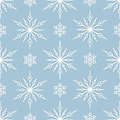 Snowflakes seamless pattern. Magic holiday texture for Merry Christmas. Vector isolated winter festive background for wrapping paper.