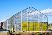 construction of a new large greenhouse with a metal frame in a rural area
