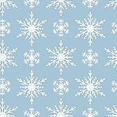 Magic holiday texture with Merry Christmas snowflakes. Vector isolated winter festive background for wrapping paper. Seamless pattern with ornate stars.