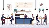People in the bar cafe. Barista barman making drink at bar counter interior.