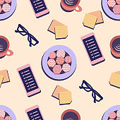Seamless pattern concept for coffee break, rest at work, glasses, phone, notes, coffee, plate with cookies on the table.