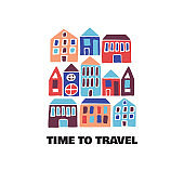 Time to Travel card. Modern flat hand drawn illustration.