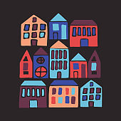Hand drawn flat houses. Vector illustration with cartoon city.