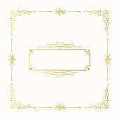 Hand drawn golden elegant squared frame. Vector isolated gold royal border. Vignette monogram for classic wedding invitation card.