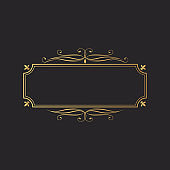 Hand drawn golden square luxury frame. Elegant royal border. Vector isolated gold vintage invitation. Classic wedding template.