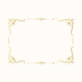 Hand drawn golden vintage rectangular frame. Royal border. Vector isolated gold vignette invitation. Classic wedding template with elegant elements.