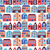 Seamless pattern with hand drawn houses. Vector illustration