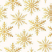Magic holiday golden texture with Merry Christmas snowflakes. Vector isolated winter festive background for wrapping paper. Seamless pattern with gold ornate stars.
