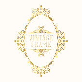 Hand drawn golden oval frame. Vintage ornate classic wedding border. Vector isolated gold calligraphic invitation card.