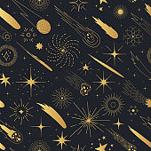 Golden space background. Holiday Christmas seamless pattern with stars, comets, sun and moon. Kids gold texture for wrapping paper or wallpaper.