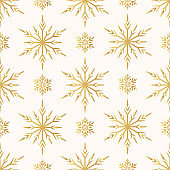 Magic holiday texture for Merry Christmas. Golden snowflakes seamless pattern. Vector isolated winter gold festive background for wrapping paper.